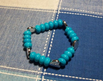 Stretchy turquoise and large heart charm Bracelet