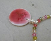 Watermelon Necklace - One of a Kind - swarovski crystal and pendant