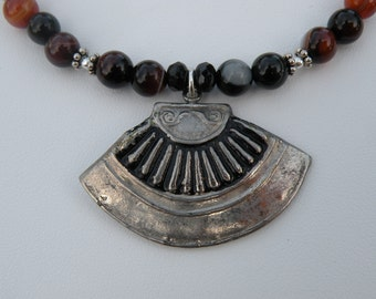 Necklace - Recycled Vintage pendant necklace with sard onyx and sterling silver fall fashion winter fashion holiday