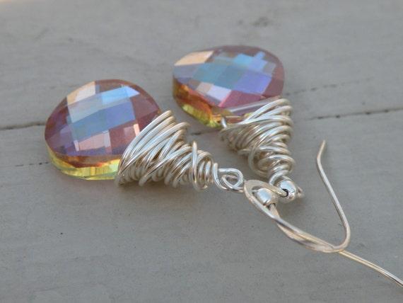 Wire Wrapped Earrings in Purple Haze -holiday gift item- spring colors- prom