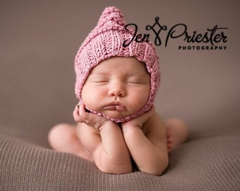 Hand knit baby hat newborn photo prop pixie bonnet hat with chin strap button pink cotton blend girl photography prop handknitted