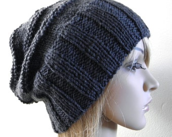 Hand knit slouchy hat wide band in charcoal grey gray pure australian wool