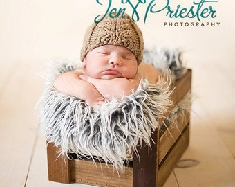 Neutral cabled hat hand knit tan beige latte taupe light brown newborn baby boy girl unigender photography photo prop