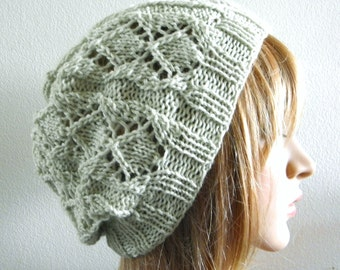 Lacy beret slouchy hat hand knit in pale light green soft fine pure wool knitted beanie spring pastel subtle women handknitted hat