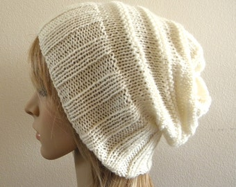 Hand knit slouchy hat wide band in cream white ivory luxury soft australian wool - choose your colour handknitted slouch women men unisex