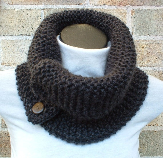 Charcoal  chunky extralarge scarflette pure wool handknitted on SALE