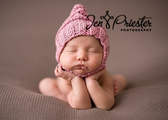 Hand knit baby hat newborn photo prop pixie bonnet hat with chin strap and button pink cotton blend girl photography prop handknitted