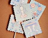 GARDEN BABY party cupcake TOPPERS- set of 20