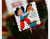 Cowboy birthday cupcake toppers- set of 20