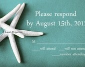 Please Respond RSVP cards - WHITE STARFISH on teal