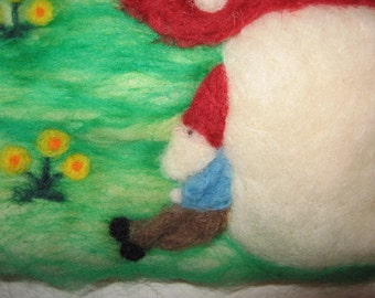 Needle Felted Picture Gnome Relaxing