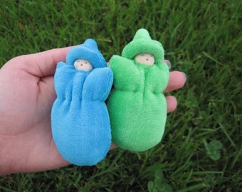 Waldorf Pocket Bunting Baby Dolls Set Green and Blue