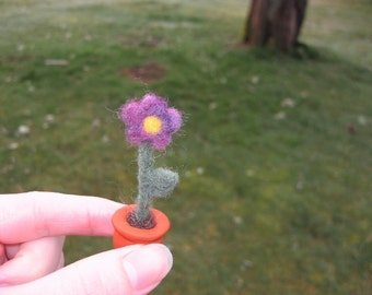 Needle Felted Miniature Purple Flower in Pot