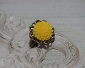 Yellow Blossom Flower Cabochon Ring..Adjustable Antique Bronze Setting..Great for Wedding Party
