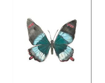 """Fine Art, Watercolor, Butterfly in Teal 8""""X10"""" Print by Laura Gunn"""