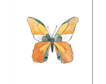 "Fine Art, Watercolor, Butterfly in Orange--8""X10"" Print by Laura Gunn"