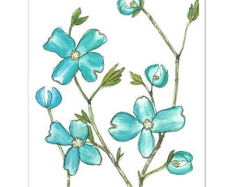 "Dogwood in Turquoise--8""X10"" Fine Art Print"