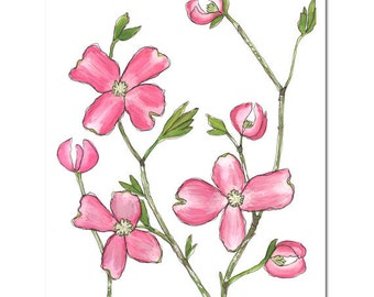 "Dogwood in Fuchsia--8""X10"" Fine Art Print"
