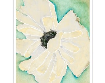 "Wild Poppy 1 in Cream--8""X10"" Fine Art Print"