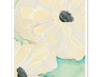 "Wild Poppy 2 in Cream--8""X10"" Fine Art Print"
