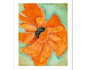 "Wild Poppy 1 in Tangerine--11""X14"" Fine Art Print"