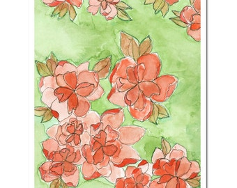"""Scattered Blooms in Pomegranate--8""""X10"""" Fine Art Print"""