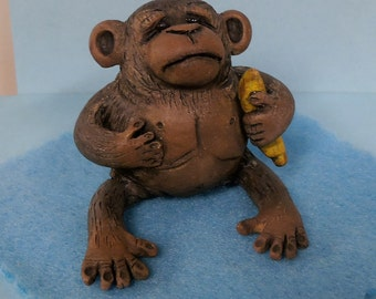 Chuckie the Chimp by darbella designs in polymer clay ornament