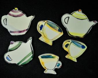 Teapots, Tea Pots, & Teacups, Tea Cups Hand Painted Mosaic Tiles