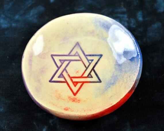 "STAR of DAVID  Bowl, 3"" ceramic wish dish, soap, trinkets, change, tea bag"