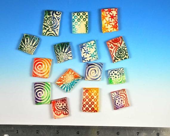 Funky Chunky Rainbow Texture Tiles,  Handmade Mosaic Tile Shapes