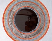 Stained Glass Mosaic Art Mirror-Orange and Gray