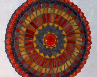 Mosaic Art-Stained Glass Mixed Media-Orange Yellow and Gray