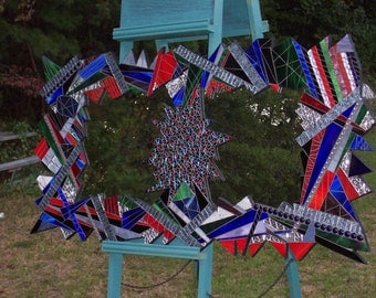 Mosaic Art Mirror Stained Glass Mixed Media Red-Blue-Silver