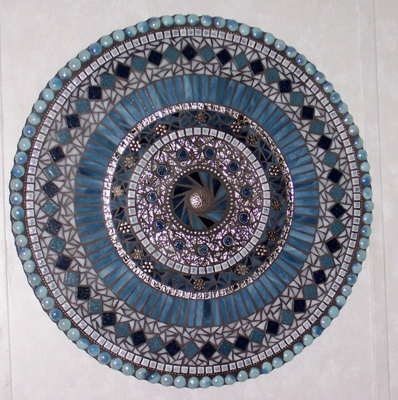 Mosaic Wall Art Mixed Media/Stained Glass Blue and Silver