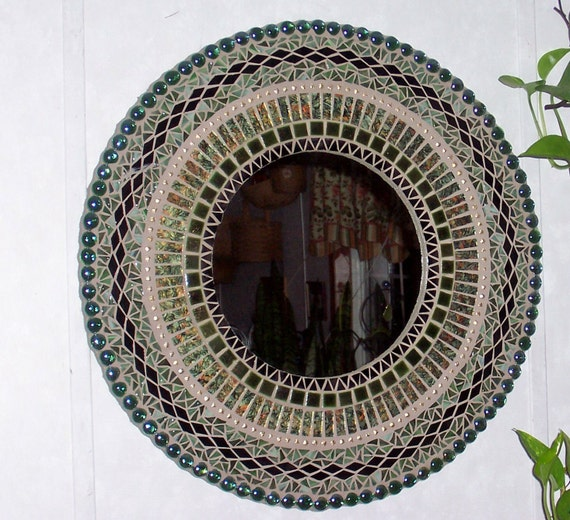 Mosaic Mirror Mixed Media Stained Glass Art Green
