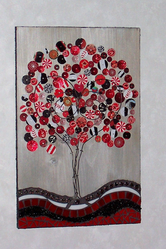 Mixed Media Mosaic and Recycled Tin Tree Plaque-Red