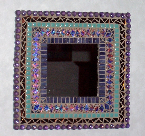 Mosaic Mirror Stained Glass Mixed Media Art  Purple