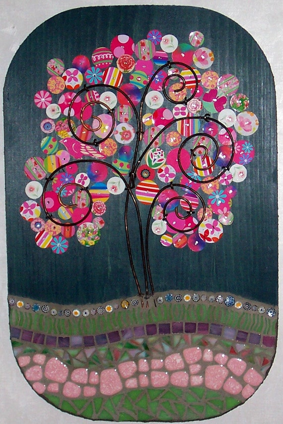Mosaic-Mixed Media Art Plaque-Recycled Tin and Stained Glass Tree