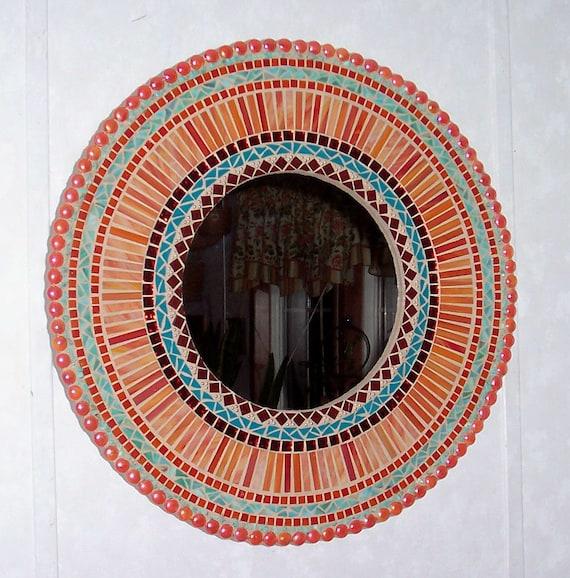 Mosaic Mirror Stained Glass Mixed Media Art-Orange and Aqua