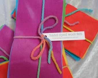 hand dyed wool felt sample pack - rainbow pack 11x22cm