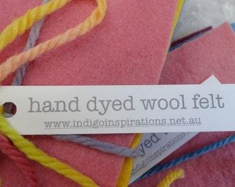 hand dyed wool felt sample pack - autumn rainbow 11x22cm