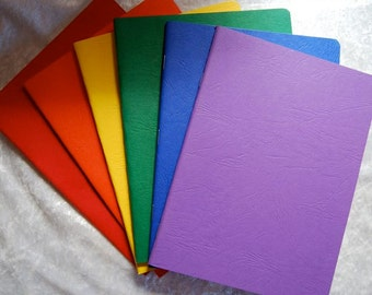 beautiful journals in rainbow covers - 6 books