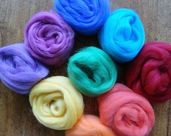 pure wool fleece felting kit with instructions...soft rainbow