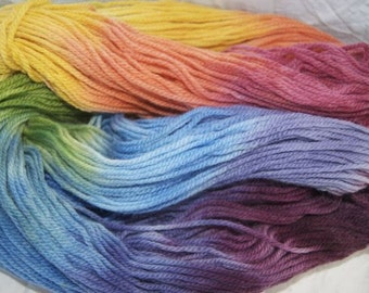 hand painted pure wool...autumn rainbow in 16ply...200gm