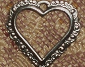 Silver plated Heart Charms 6 each