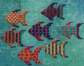 Completed Cross Stitch Ocean Jewels by Liberty Street Designs