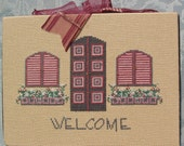 Completed Cross Stitch Welcome to our Home by Liberty Street Designs