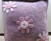 Upcycle Recycled Felted Wool Sweater Pillow Handmade Hand Dyed Penny Rug