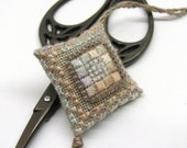 Tiny Southwest Sand Scissor Fob Ornament Pin Cushion Completed Beaded Cross Stitch Needlework