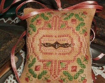Splendid Floral  Cross Stitch Ornament